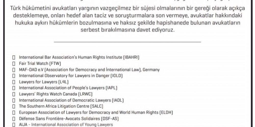Annonce publique sur la détérioration de la situation des avocats en Turquie