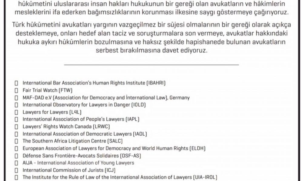 Public announcement on the deterioration of the situation of lawyers in Turkey